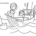 Kolorowanka dla dzieci z widokiem z Rewala - łódka na morzu