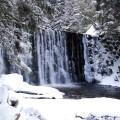 Dziki wodospad w Karpaczu, w zimowej aurze, dużo śniegu, lód, ośnieżone drzewa