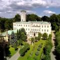 Pałac w Mysłakowichach z otaczającym go parkiem, na ujęciu z lotu ptaka