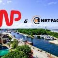 Widok na port w Kołobrzegu, logo WP i NetFactory
